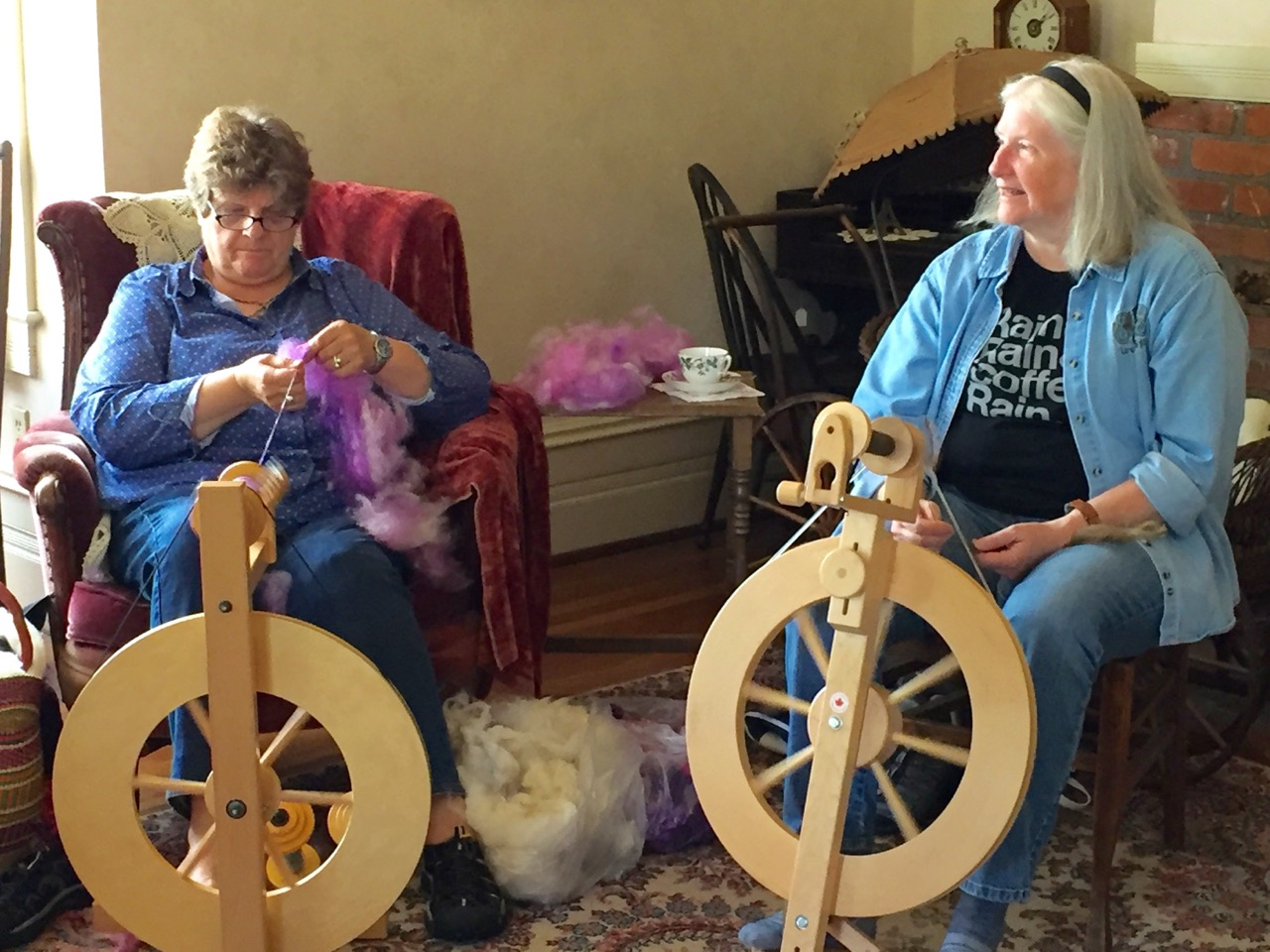Spinning wool in the front parlor